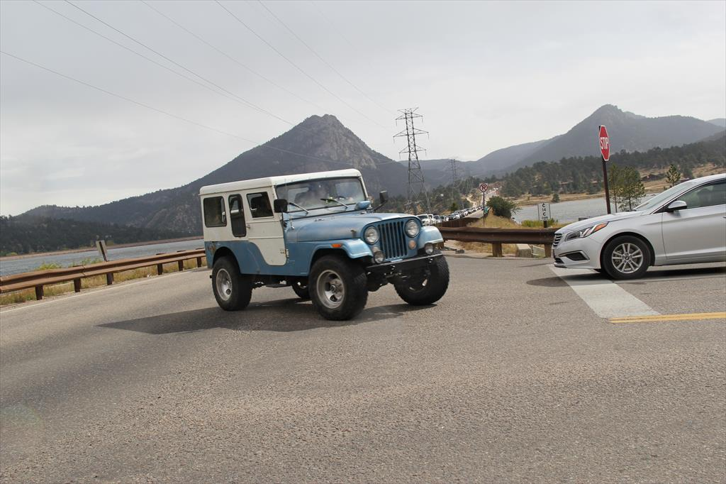 White and Blue Jeep