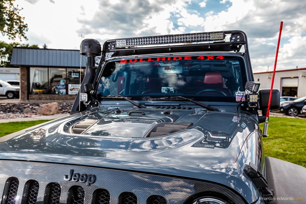 Teal Jeep Window