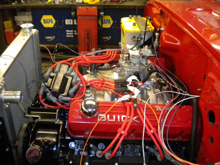 Engine of red car