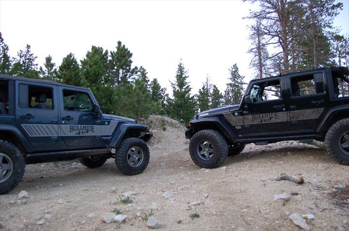 Multiple Jeeps off-roading