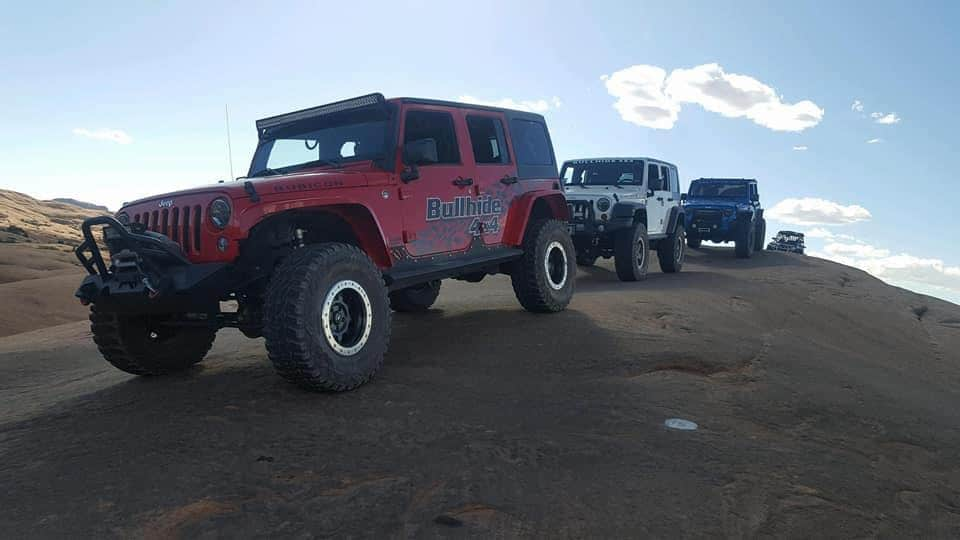 Multiple Jeep off-roading