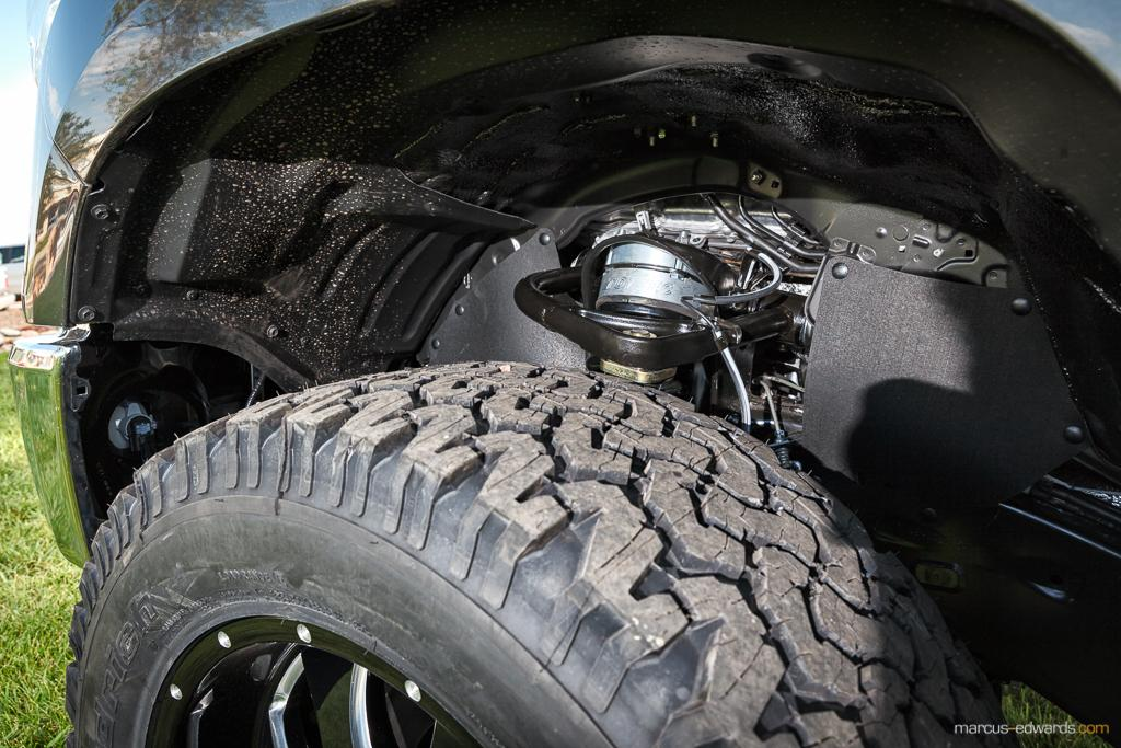 Wheels and shocks on a truck