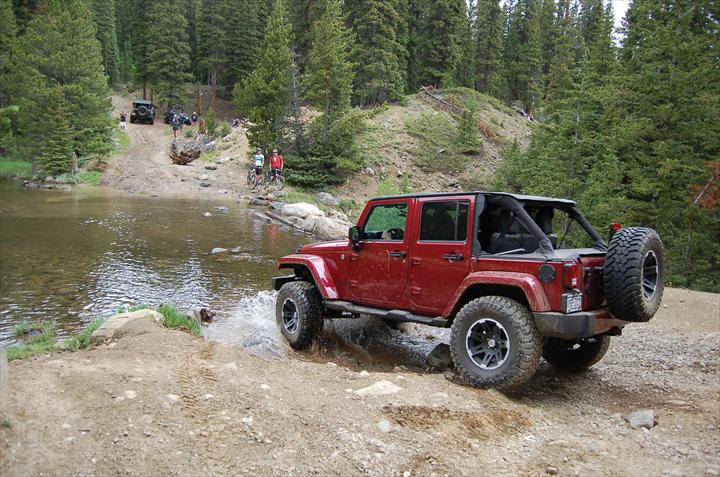 Red car off-roading