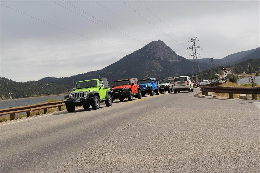 Different colored Jeeps