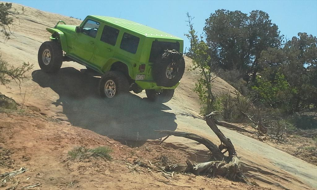 Green Jeep off-roading