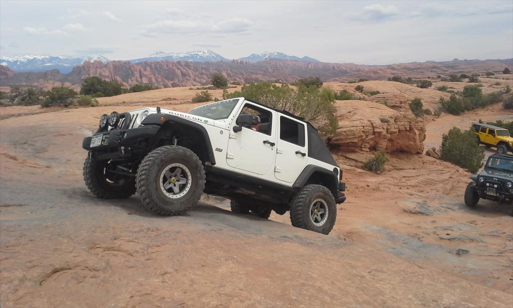 White Jeep off-roading