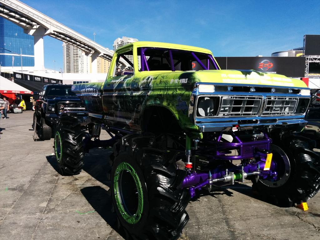 Lifted green truck
