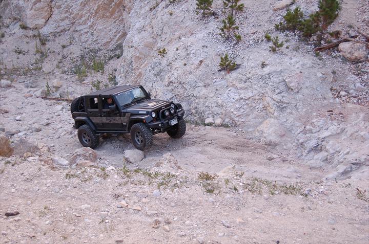 Black car off-roading
