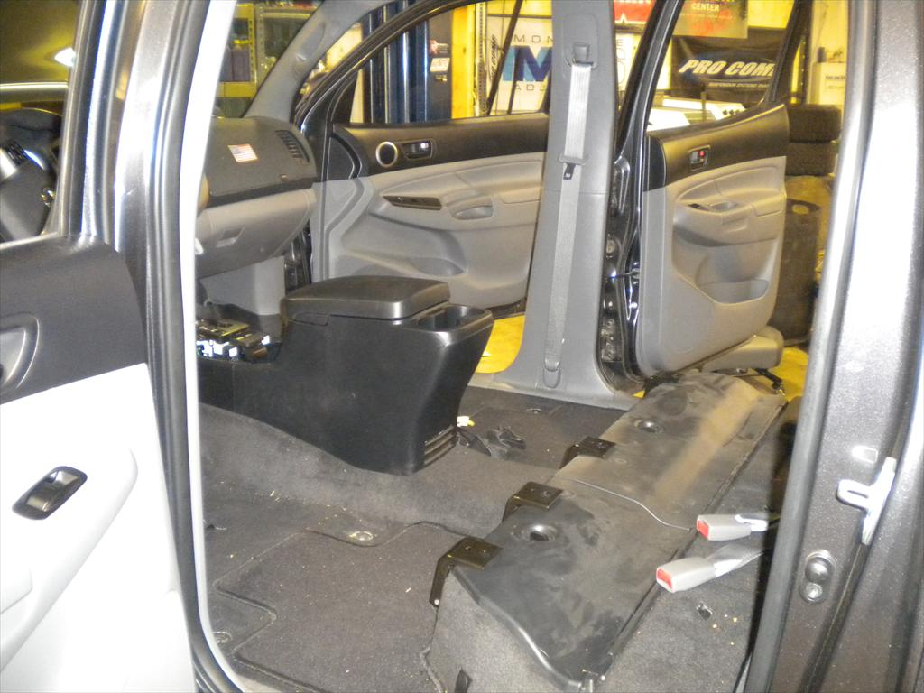 Interior of car without seats