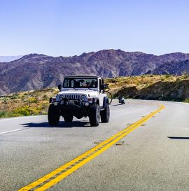 March 17, 2019 Coachella Valley / CA / USA - Jeep vehicle travelling on a highway in south California